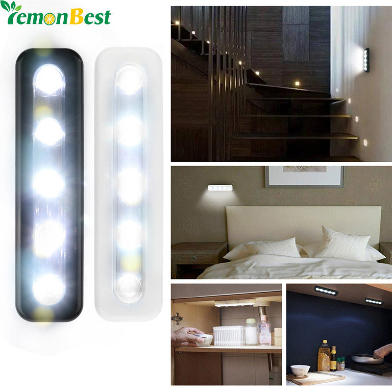 LemonBest Mini Wireless Wall Light Closet Lamp 5 LED Night Light Battery Home Lighting for Under Kitchen Cabinets