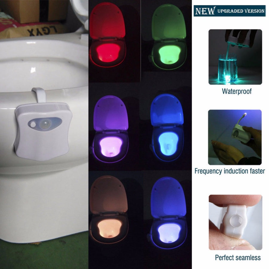 2017 Upgrade High Quality 8 Color Bathroom Toilet Nightlight LED Body Motion Activated Seat Sensor Lamp For AAA Battery