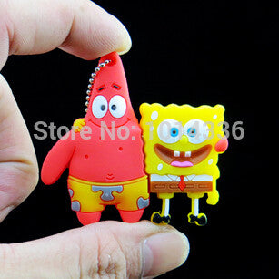 1/2/4/8/16/32GB Patrick Star&SpongeBob SquarePants USB Flash Drive Pen Drive Memory Stick/Thumb/Gift   creative Pendrive