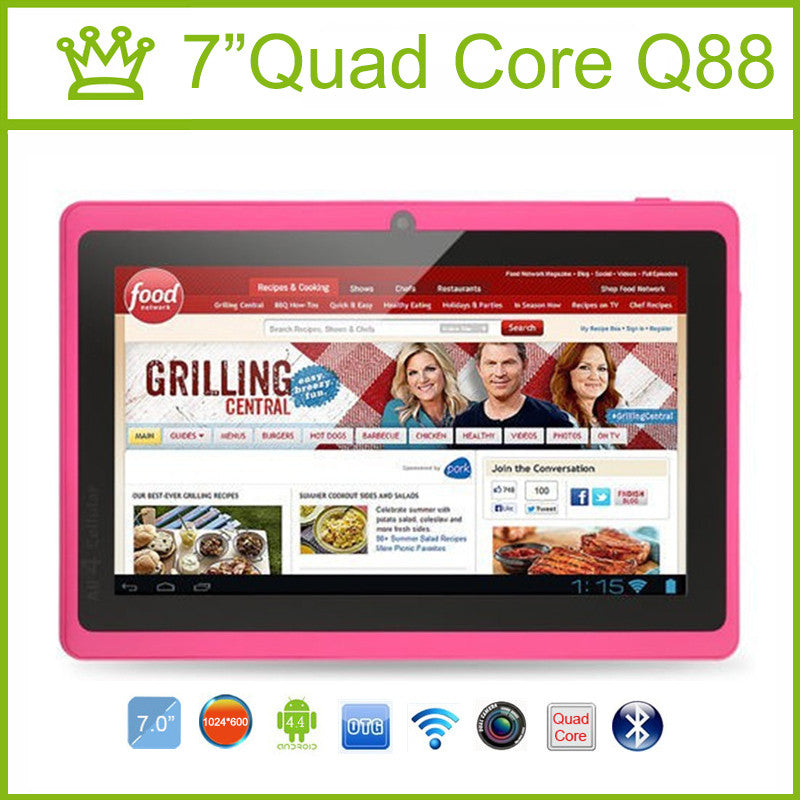 7 inch Tablet PC Quad Core Q88 ROM 8GB 1024*600 pxl Allwinner A33 Android 4.4 Bluetooth Tablet Android 9 8 7  dailytechstudios- upcube