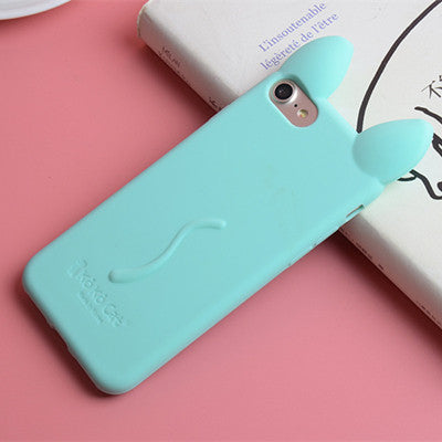 Cute Cartoon 3D KOKO Cat Ears Pink Women Phone Cases For iPhone 4 4s 5 5s Se 6 6s 6 Plus 7 7Plus Soft Silicone Cover Funda Coque