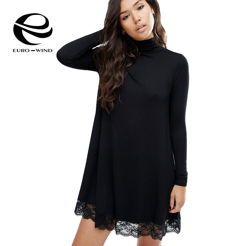 Plus Size Casual Long Sleeve Sexy Lace Sundress Party Dresses Desigual  Women Dress 2017 Turtleneck Black 3ef989c7cd7d