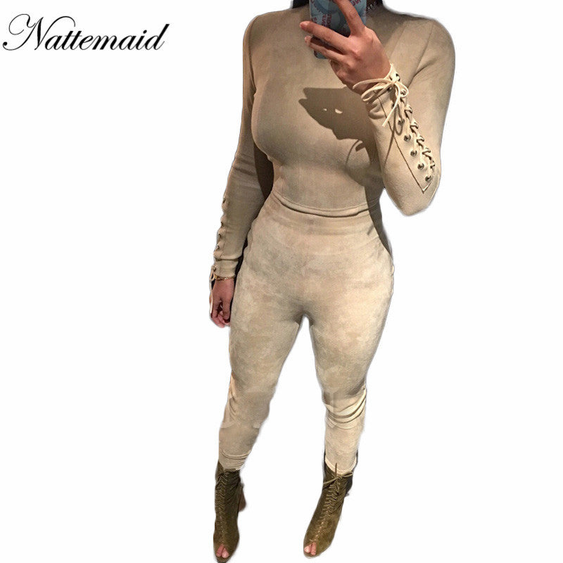 ddceb2ca1c7d 2017 Fashion style suede Jumpsuit womens Rompers Beige color long pants  Bodycon Sexy fitted jumpsuits 2