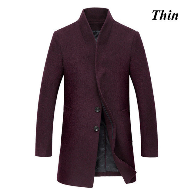 Letskeep 2016 New Winter woolen long peacoat men slim fit casual thick overcoat mens warm Windbreaker trench coat Jackets, MA209