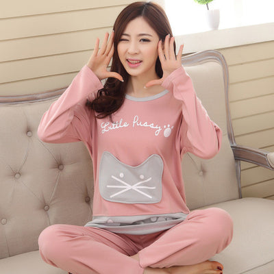 Tinyear New 2017 women lovely night suits 100% cotton M-2XL ladies cartoon pajamas casual long-sleeved autumn pyjamas