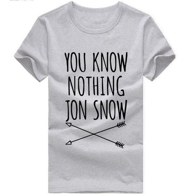 Women T-shirt You Know Nothing Jon Snow Printed Letter T shirt 2016 Summer Games Of Thrones Women T Shirt Camisetas Mujer QA927