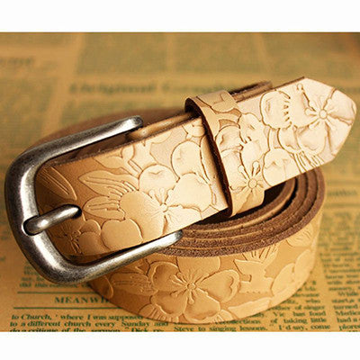 2016 new fashion genuine leather belt woman vintage floral carved cowskin belts women top quality strap belts cummerbunds  dailytechstudios- upcube