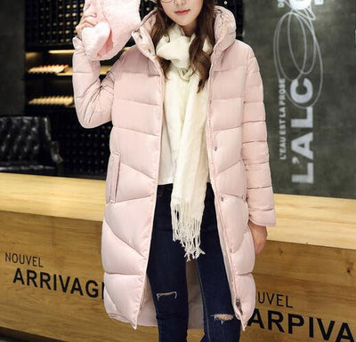 2017 Winter New Fashion Long Coat Slim Thickened Turtleneck Warm Jacket Cotton Padded Zipper Plus Size Outwear Casacos 4 Colors