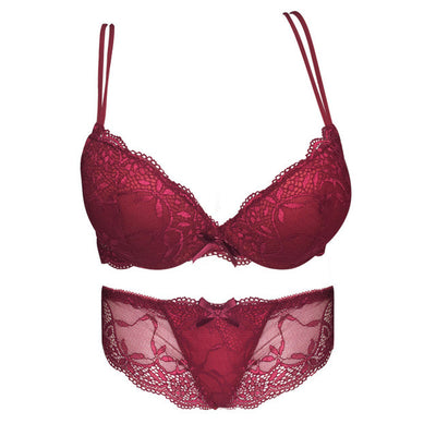 Sexy Women Bra Set Deep V Lace Underwire Bras Push Up Solid 32A-38C Lingerie Outfit Bra