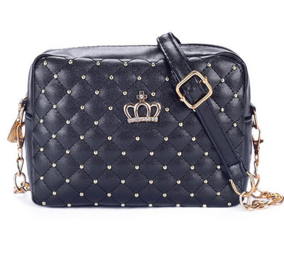2016 Women Bag Fashion Women Messenger Bags Rivet Chain Shoulder Bag High Quality PU Leather Crossbody Quiled Crown bags  dailytechstudios- upcube