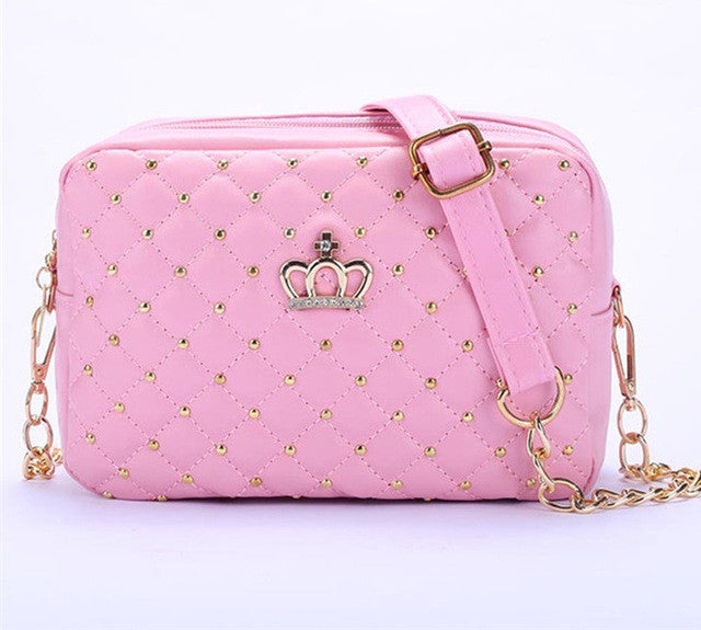 2016 Women Bag Fashion Women Messenger Bags Rivet Chain Shoulder Bag High Quality PU Leather Crossbody Quiled Crown bags