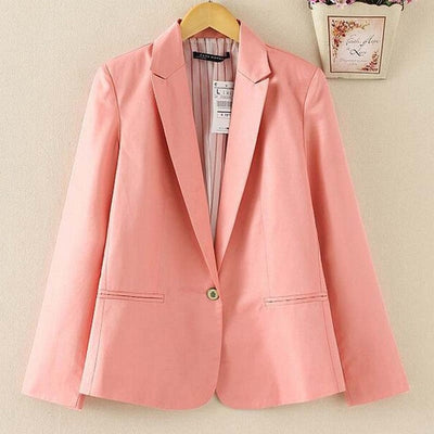 1PC 2016 Spring OL Suit Blazer Women Blaser Femenino Candy Color One Button Women Blazers Coat Casual Fashion BB0051  dailytechstudios- upcube