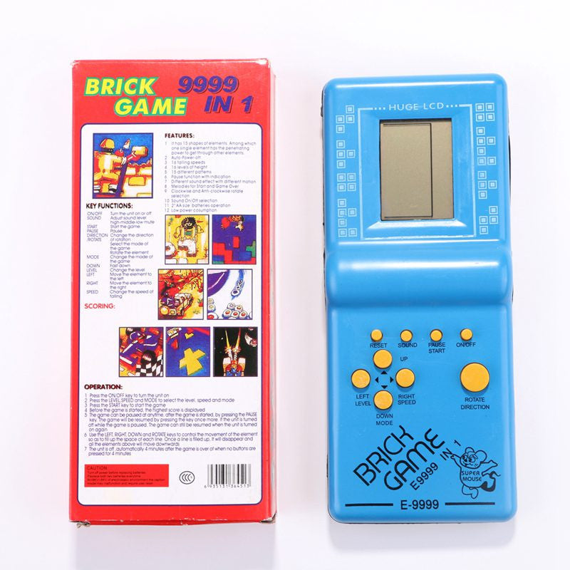 Childhood Classic Tetris Hand Held LCD Electronic Game Toys Fun Brick Game Riddle Black White Handheld Game Console