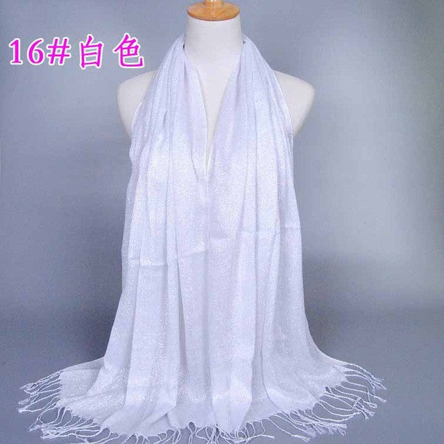 170*60 New Fashion Plain Shimmer Glitter Winter Mulsim Wrap Viscose Lurex Long Shawls Muslim Hijab Scarves Women Scarf 2400