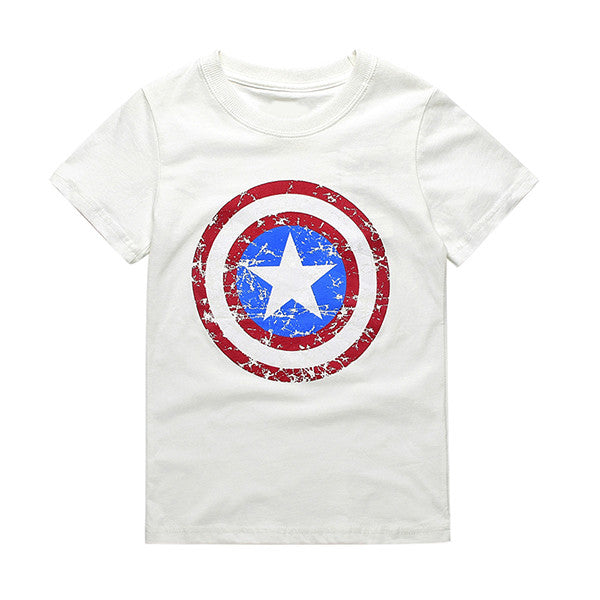 2017 Cotton Boys T-shirts Captain America Short Children t shirt For 1~11 Y Boy Cartoon Tops Tees Summer Kids Clothes CG050  dailytechstudios- upcube