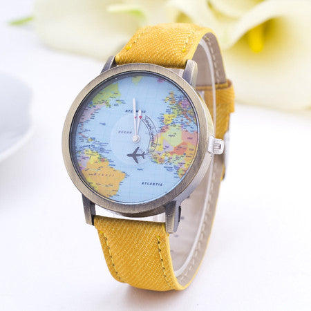2016 New Fashion Dress Watch Women Men World Map Leather Casual Quartz Watches Lady Mens High Quality Imitation Cowboy Geneva