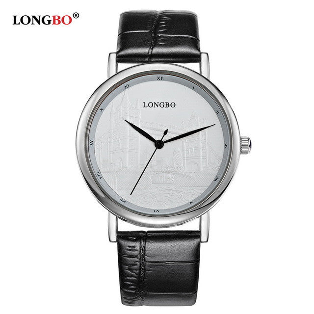 2016 LONGBO Luxury Quartz Watch Casual Fashion Leather Watches Men Women Couple Watch Sports Wristwatch Free Shipping 80035