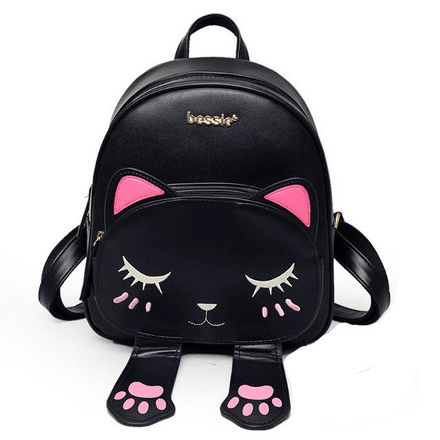 Cat Backpack Black Preppy Style School Backpacks Funny Quality Pu Leather Fashion Women Shoulder Bag Travel Back Pack Sac XA531B