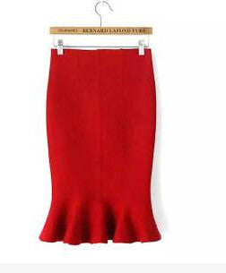 2016 new hot sale women's spring autumn elastic high waist ruffles skirts woman hip trumpet skirt 9 colors