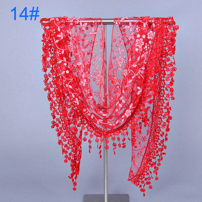 2015 New Casual Stylish Elegant Sexy Vintage Women's Lady Triangle Thin Long Polka Lace Scarf With Funky Tassal Trim  dailytechstudios- upcube