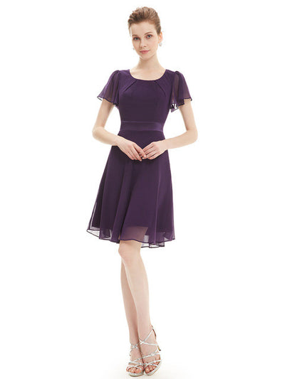 Cocktail Party Dresses Ever Pretty AS03990 Purple Round Neck Chiffon Short Elegant Summer 2017 New Arrival Cocktail Dresses  dailytechstudios- upcube
