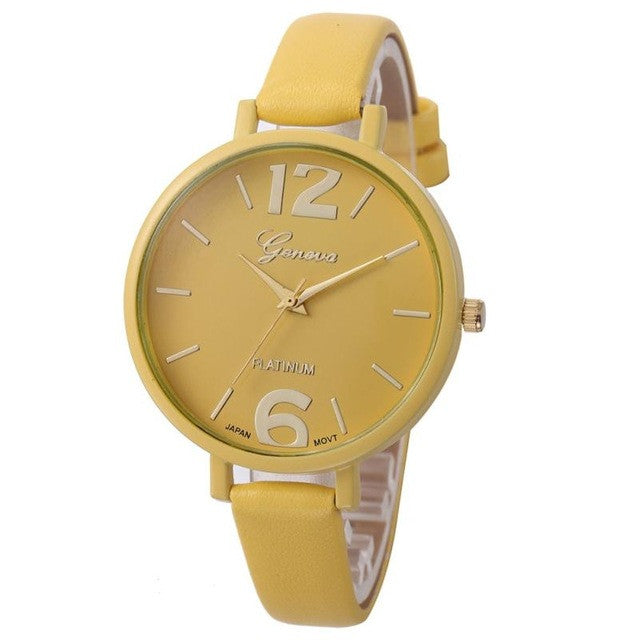 Watch Shop 10 Colors Women Bracelet Watch Geneva Famous brand Ladies Faux Leather Analog Quartz Wrist Watch Clock Women relojes mujer 2016