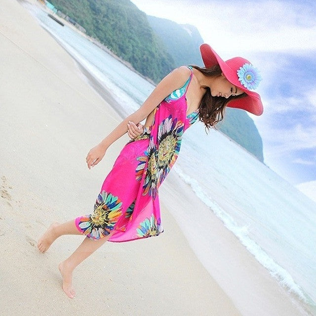 1 pcs New Deep V Wrap Chiffon Swimwear Bikini Cover Up Sarong Beach Shawl Scarves Dress Hot echarpes foulards femme