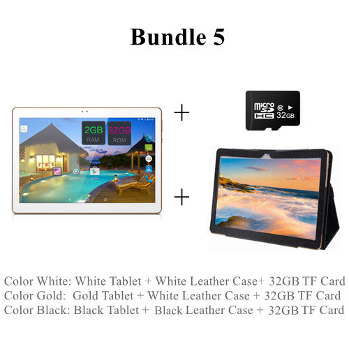 "10 Inch Android Tablet PC Tab Pad 2GB RAM 32GB ROM Quad Core Play Store Bluetooth 3G Phone Call Dual SIM Card 10"" Phablet  dailytechstudios- upcube"