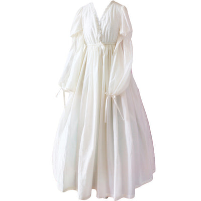 Vintage Sexy Sleepwear Women Cotton Medieval Nightgown White V-neck Queen Dress Night Dress Lolita Princess Home Dress