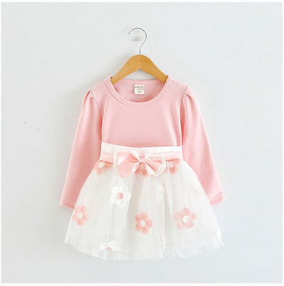 2017 Baby Princess Girls Toddler New Born Flower Dress for Newborn Long Sleeves 1-2 Year Birthday Baby Dresses for Children  dailytechstudios- upcube