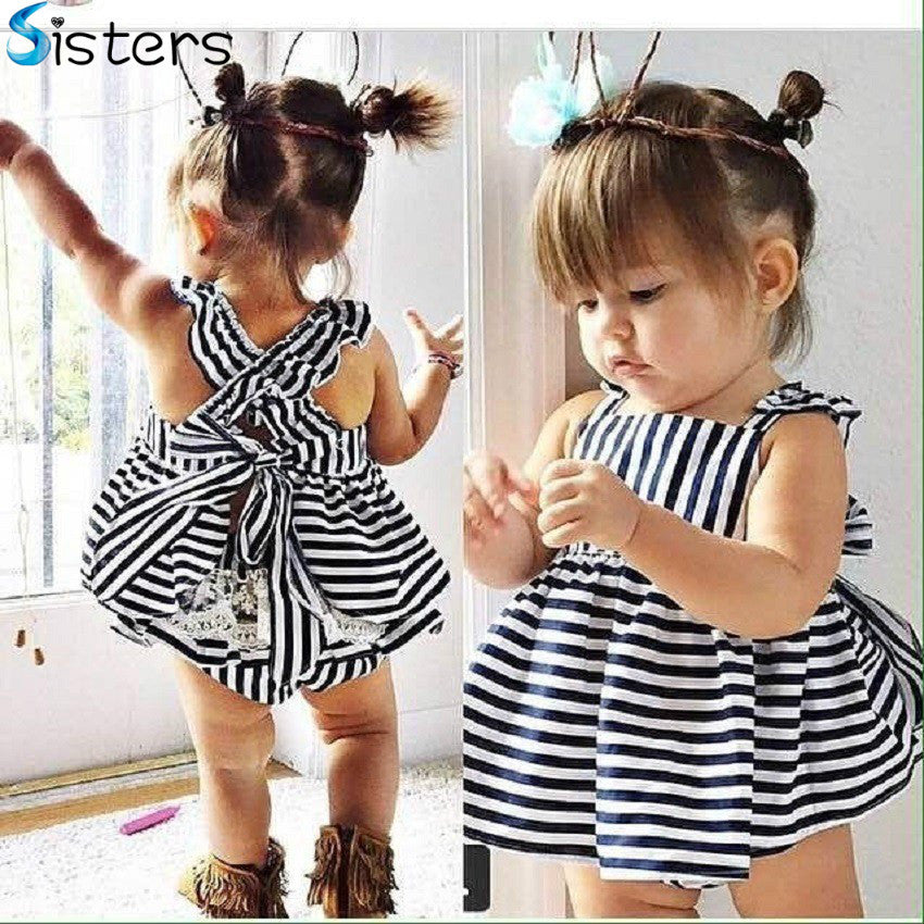 2017 Summer Baby Wedding Dresses Princess Children Dresses Stripe Kids  Clothing Girls Clothes Costumes Vestidos Para 687d7623d1e2