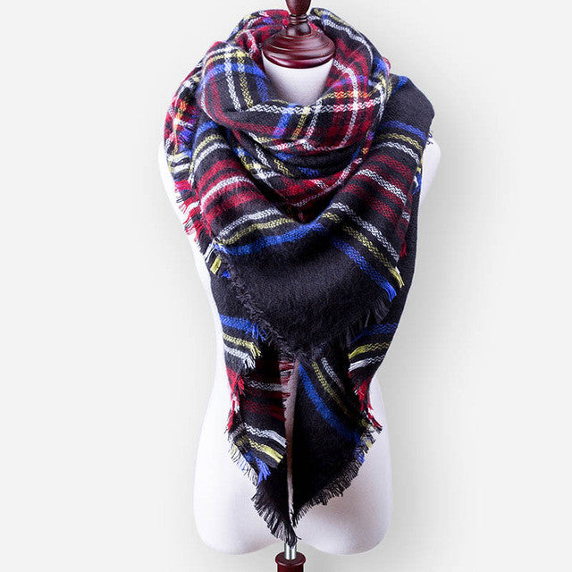 140*140cm Hot Sales Fashion Square Scarf Warm Winter Scarf Women Wool Plaid Blanket Scarf Pashmina Wrap Shawls and Scarves