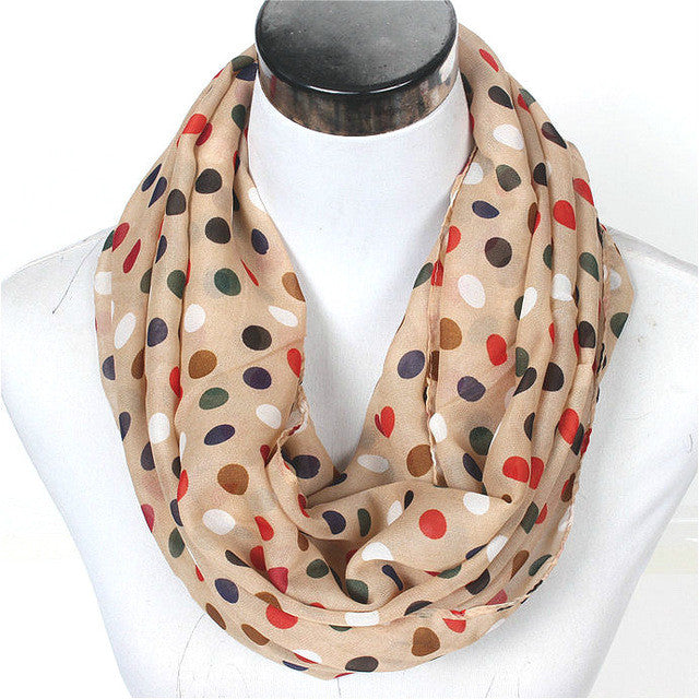 2017 New Lovely Female Stripe Dots Ring Scarf Fashion Winter Women Dot Silk Infinity Scarves Nice Chevron Loop Shawl