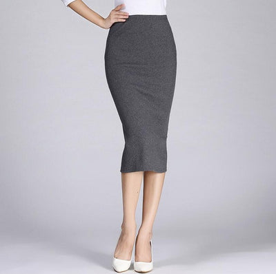2016 Spring Summer Long Pencil Skirts For Womens Sexy Slim Package Hip Maxi Skirt Ladies Sexy Chic Wool Rib Knit midi Skirt Saia  dailytechstudios- upcube