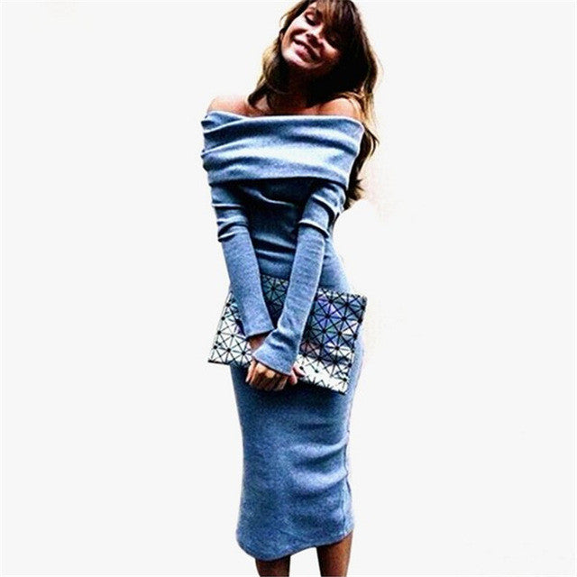 Women Knitted Sweater Dress Autumn Sexy Slash Neck Bandage Dress Off Shoulder Dress Clubwear Elegant Long Sleeve Office Dresses