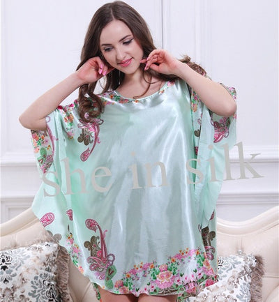 Top Promotion Summer Style Cute Charming Plus Size Home Clothing Women Pyjamas Loose Silk Bathrobe Women Dressing Gowns  10143