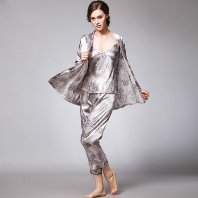 SpaRogerss New Women Luxury Pajama Sets 2017 Brand Fashion 3 Pcs Pajama Long Pants Set Female Pajamas Faux Silk Home Suit YT013