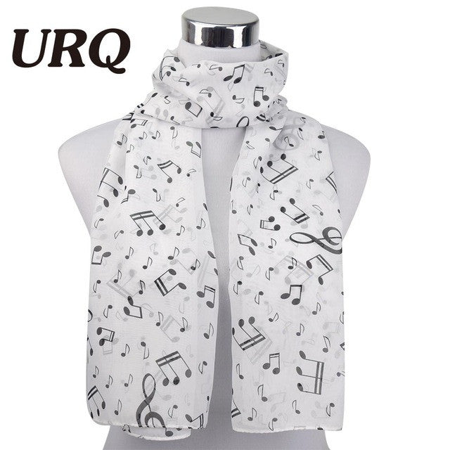 1 PC 50*160cm  New Arrival Korean Style Music Note Print Lady Chiffon Silk Summer scarves P5A16077