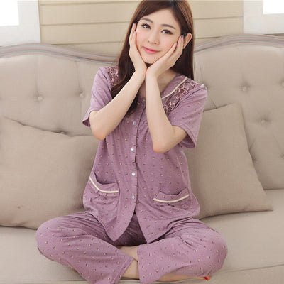 Pajamas For Women Summer Cotton Short Sleeve Pyjamas Trousers Ladies Pajama Sets Women Lounge Sleep Womens Pajamas