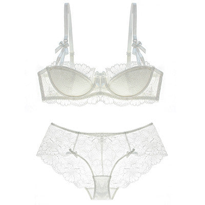 1/2 cup full lace thin cup sexy push up brassiere with pad transparent panties dress women underwear set embroidery intimates - upcube