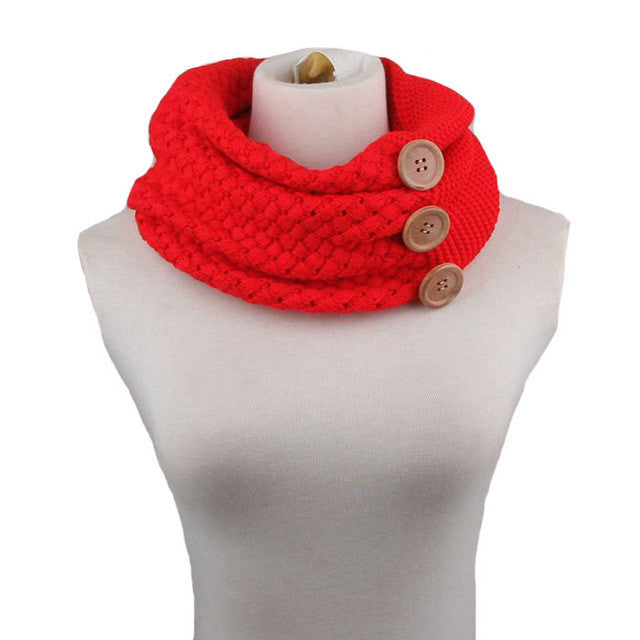 160G Fashion Winter Thick Warm Scarf for Women Knitting Round Towel Two Circles 3 Buttons Neck Gaiter Neck Ring Shawl
