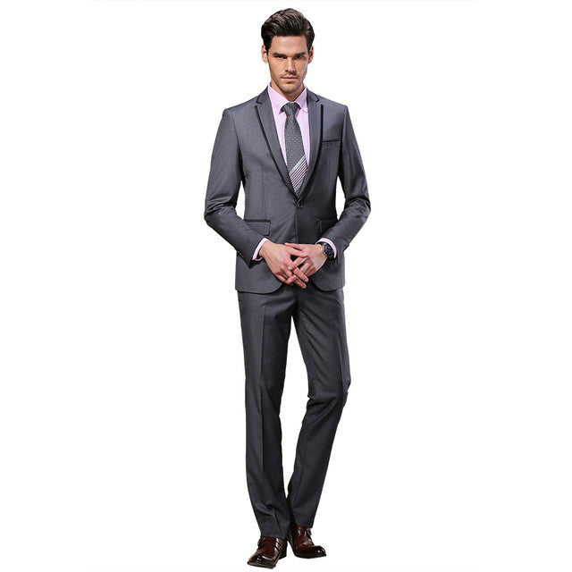 2016 DAROuomo Men Suits Slim Custom Fit Tuxedo Gray suit and Pants Brand Fashion Business Dress Wedding Suits DR8618-3  dailytechstudios- upcube