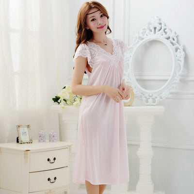 Summer Sexy Female Lounge Sleepwear Long Design Loose Female Ice Silk Lace Princess Palace White Nightgown