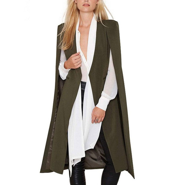 2017 Women Trench Coat  Fashion Cape Cardigan Blazer Plus Size Loose Long Cloak Outerwear Women Ladies Windbreak Ponch Coat