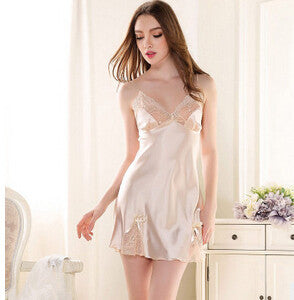 2016 Popular Hot sexy women nightgown Imitated Silk satin ladies sexy lace princess Nightdress sleepwear