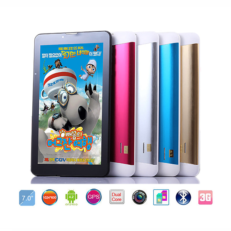 "Cheapest Dual SIM tablet 7""android HD 1024*600 pxl 8GB 3G Phablet Dual Camera Kids Children Gamepad GPS Wifi Tablet pc 7 inch  dailytechstudios- upcube"