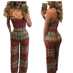 2016  Sexy Club Jumpsuits Sleeveless Print  Rompers Womens Jumpsuit  Bodycon Elegant  For  Women