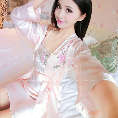 Summer Two Pieces Sets Elegant Womens Silk Satin Nightgowns&Sleepshirts Solid Sleepwear Mujer Robe Lady Sexy Lace Nightdress