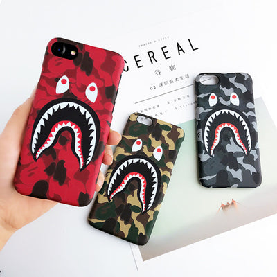 Fashion Bape Shark Case For IPhone 7 6 6s Plus Army Phone Cover