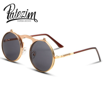 2016 Vintage Steampunk Sunglasses Round Designer Steam Punk Metal Glasses Women And Men Retro Circle Sun Glasses Oculos de sol